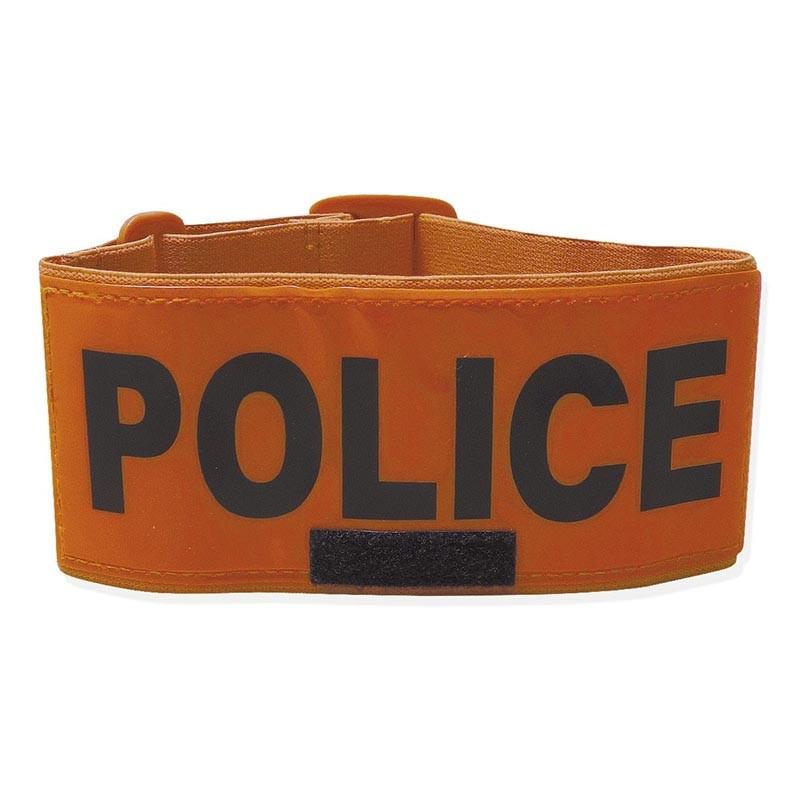 Brassard Police Orange Avec Emplacement Pour Le Matricule 01