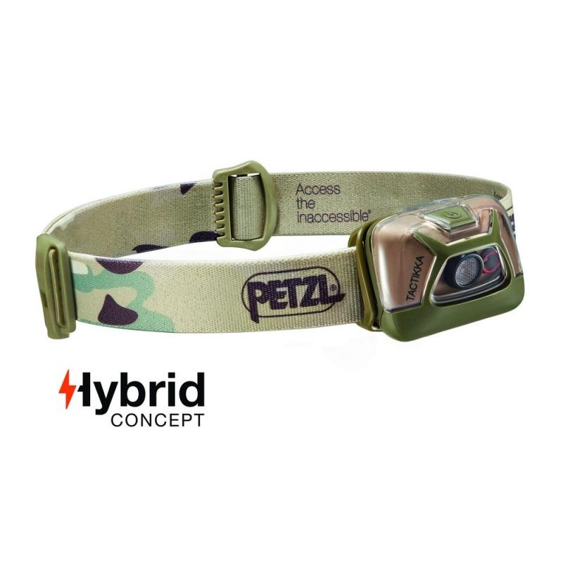 Lampe Frontale  de Petzl Hybrid Eclairage 2 Couleurs Tactikka Camouflage - 200 Lumens 01