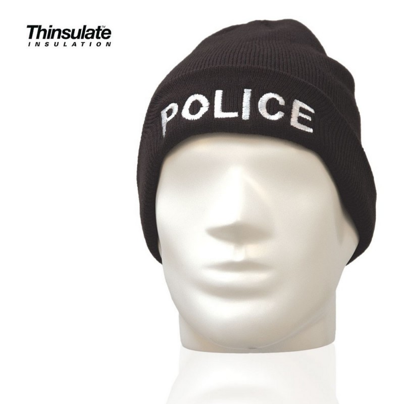 Bonnet Noir Maille Thinsulate Brodé Police 01